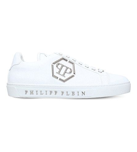 6f8790635ea7 PHILIPP PLEIN Queensland Metal Detail Leather Sneakers.  philippplein  shoes   sneakers