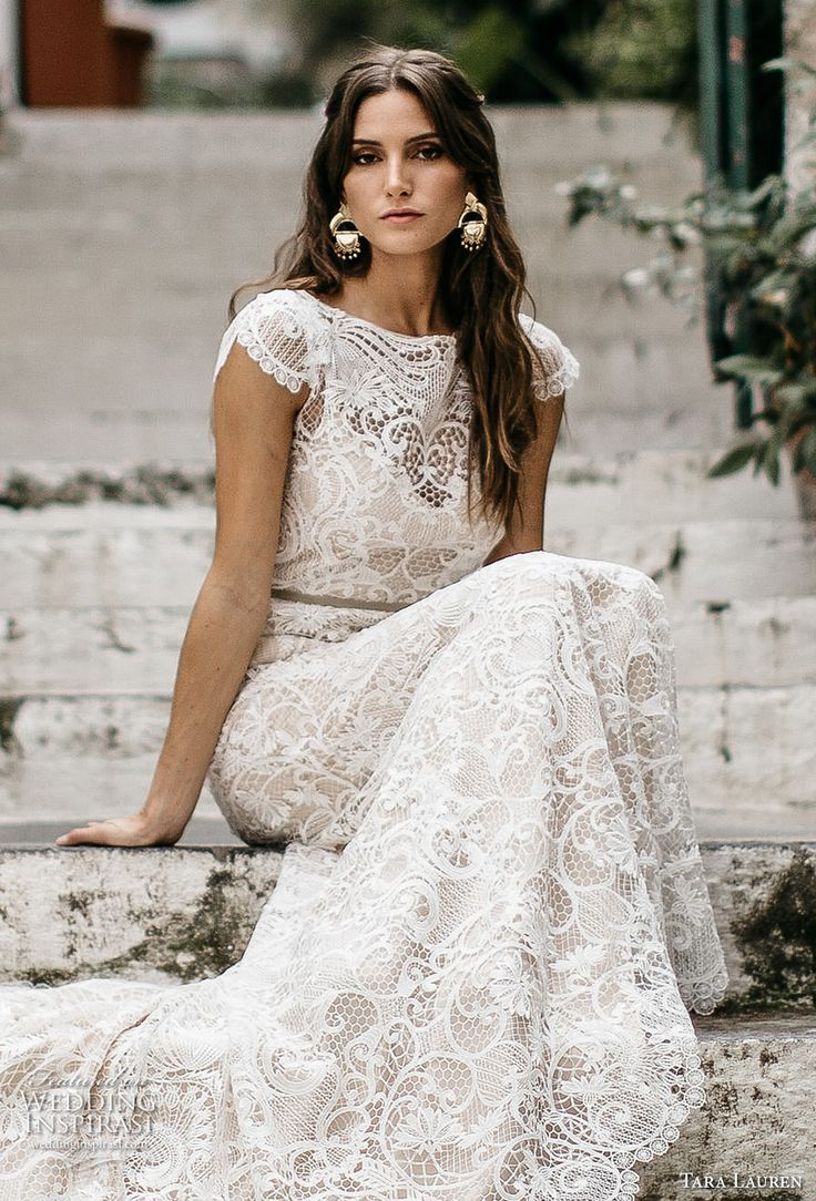 White lace wedding dress with short sleeves  tara lauren spring  bridal cap sleeves bateau neckline full
