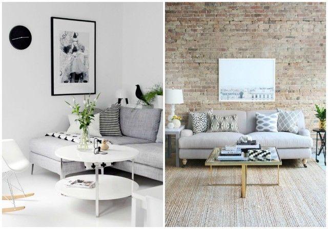 El color perfecto para el sal n salones sof s grises for Muebles para salones pequenos