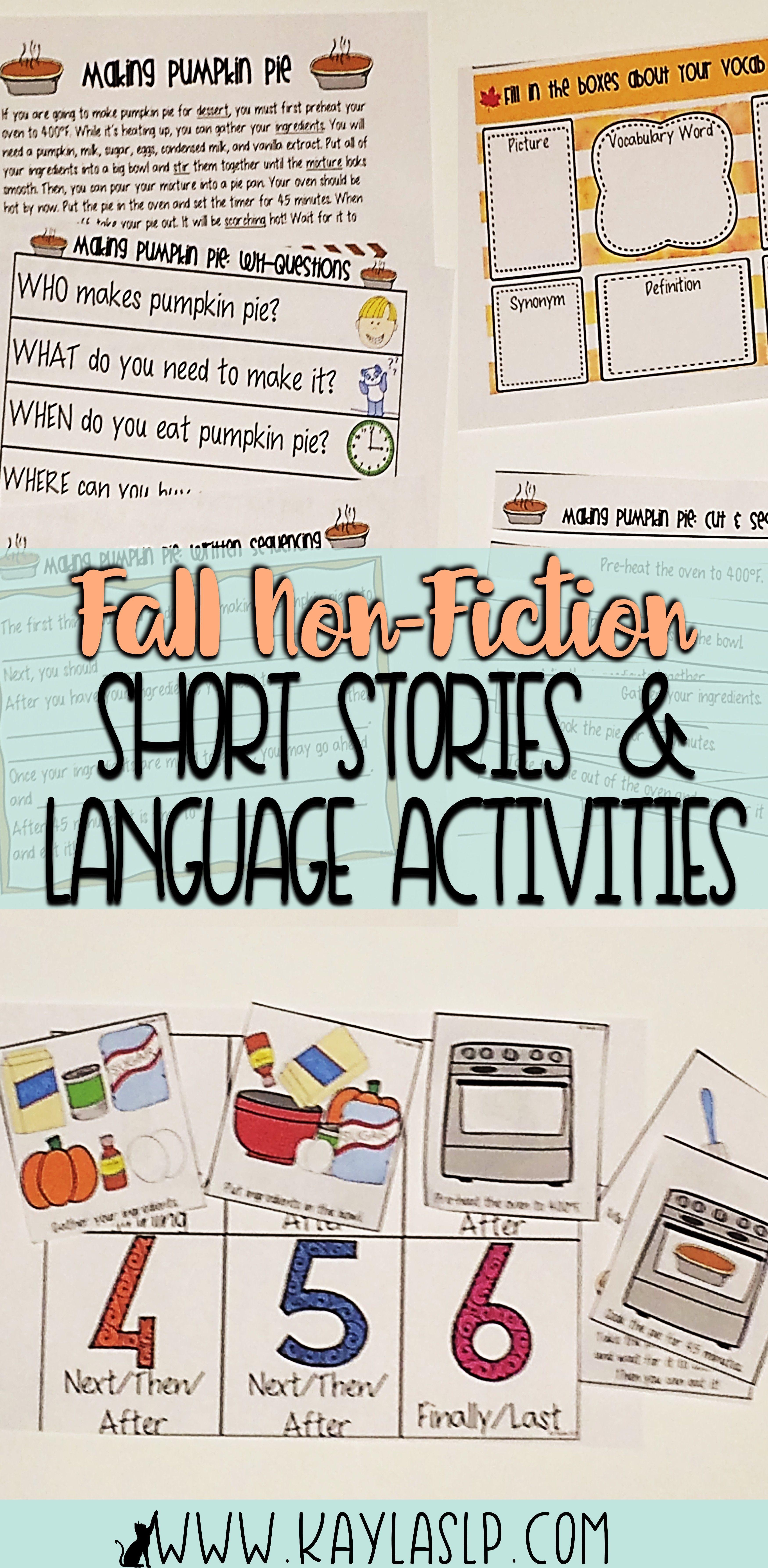 Fall Non Fiction Short Stories Language Activities