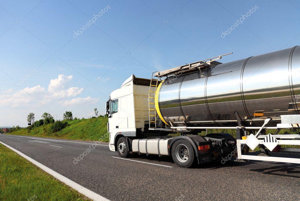 A big fuel tanker truck Stock Photo , ad, tanker,