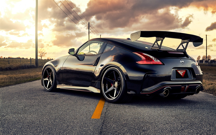 Download Wallpapers Nissan 370z Nismo Road Sportscars Tuning Black 370z Japanese Cars Nissan Besthqwallpapers Com Nissan 370z Nissan Nissan 370z Nismo