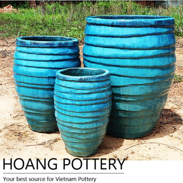 Aqua Blue Ceramic Glazed Pots Outdoor Hpth006 Cheap Flower Pots Flower Pots Flower Pots Outdoor