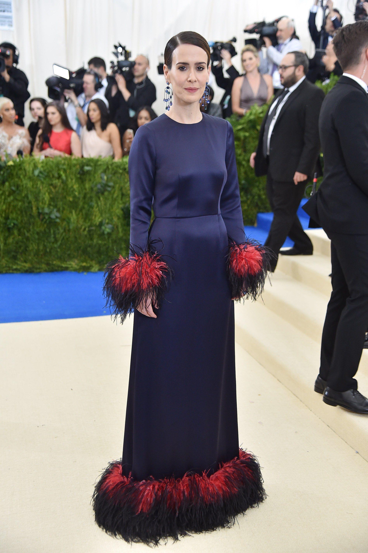Sarah Paulson In Prada As Met Gala Fashion Disney Dresses