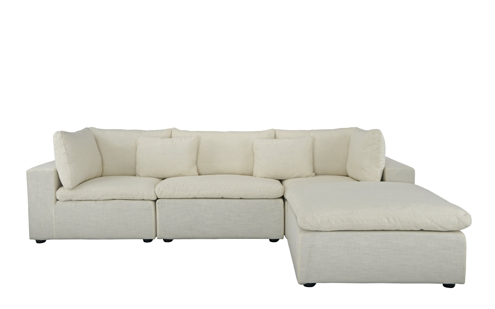 Fitz Contemporary Low Profile Lounge Sofa With Chaise Lounge