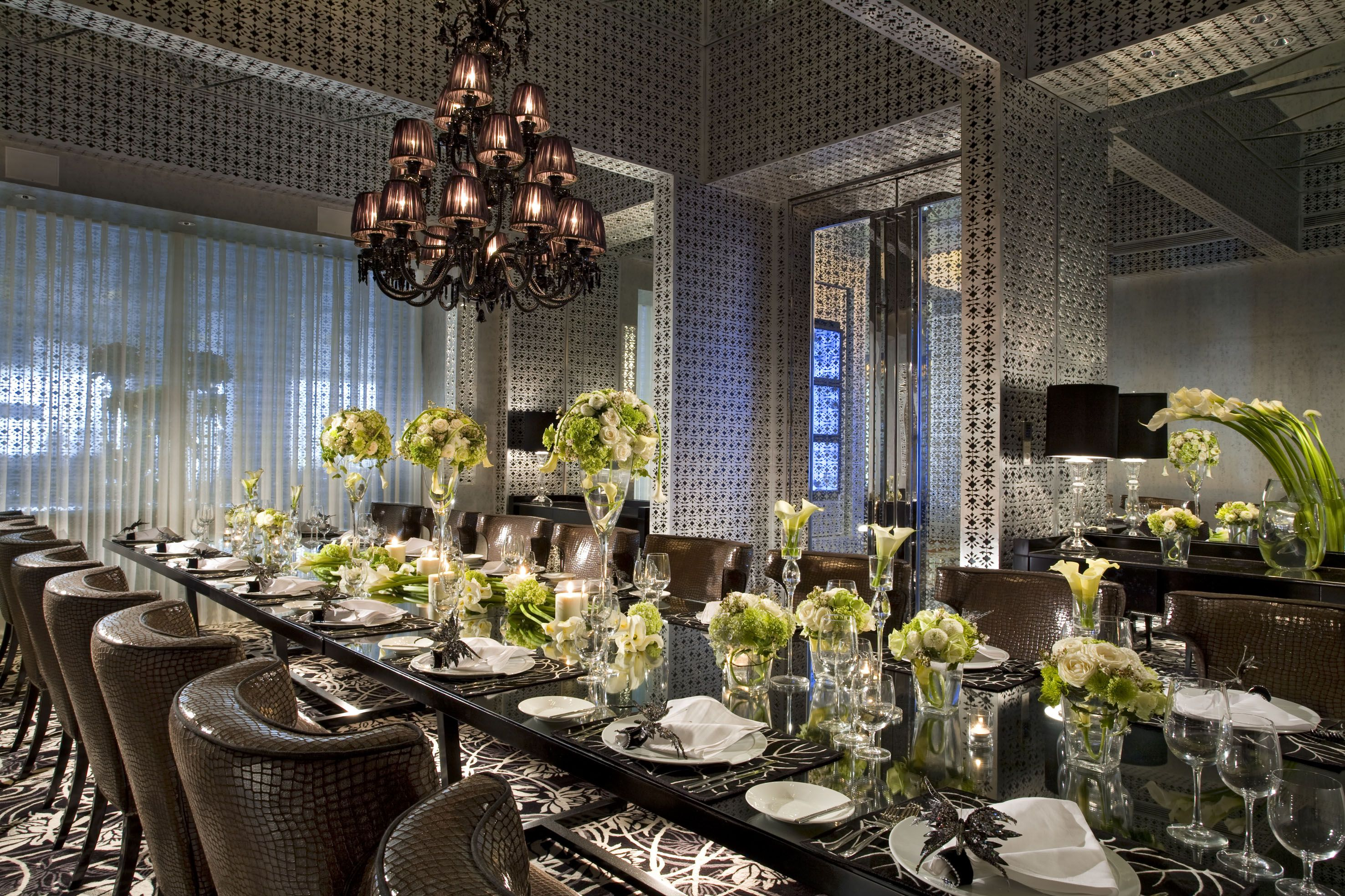 Dining Table With Baccarat Crystal Traditional Dining Rooms