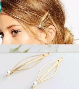Fashion Simple atmosphere European style jewelry wild imitation pearl gold hairpin side clip hair accessories hairpin headdress #Affiliate