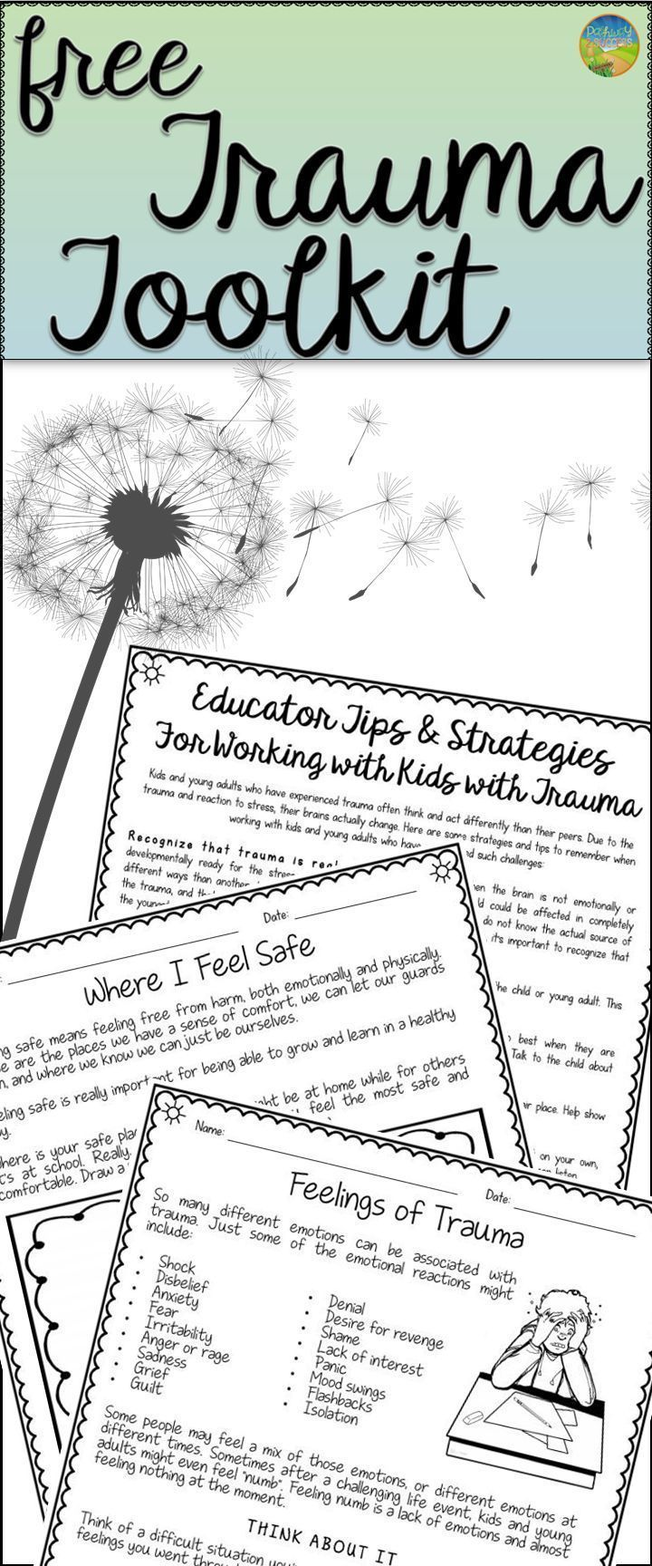 FREE Trauma worksheets and teacher handouts. Great counseling tool ...