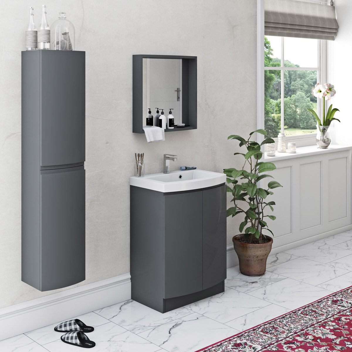 Colonial Multi Bathroom Storage Cabinet Grey Or White Custom