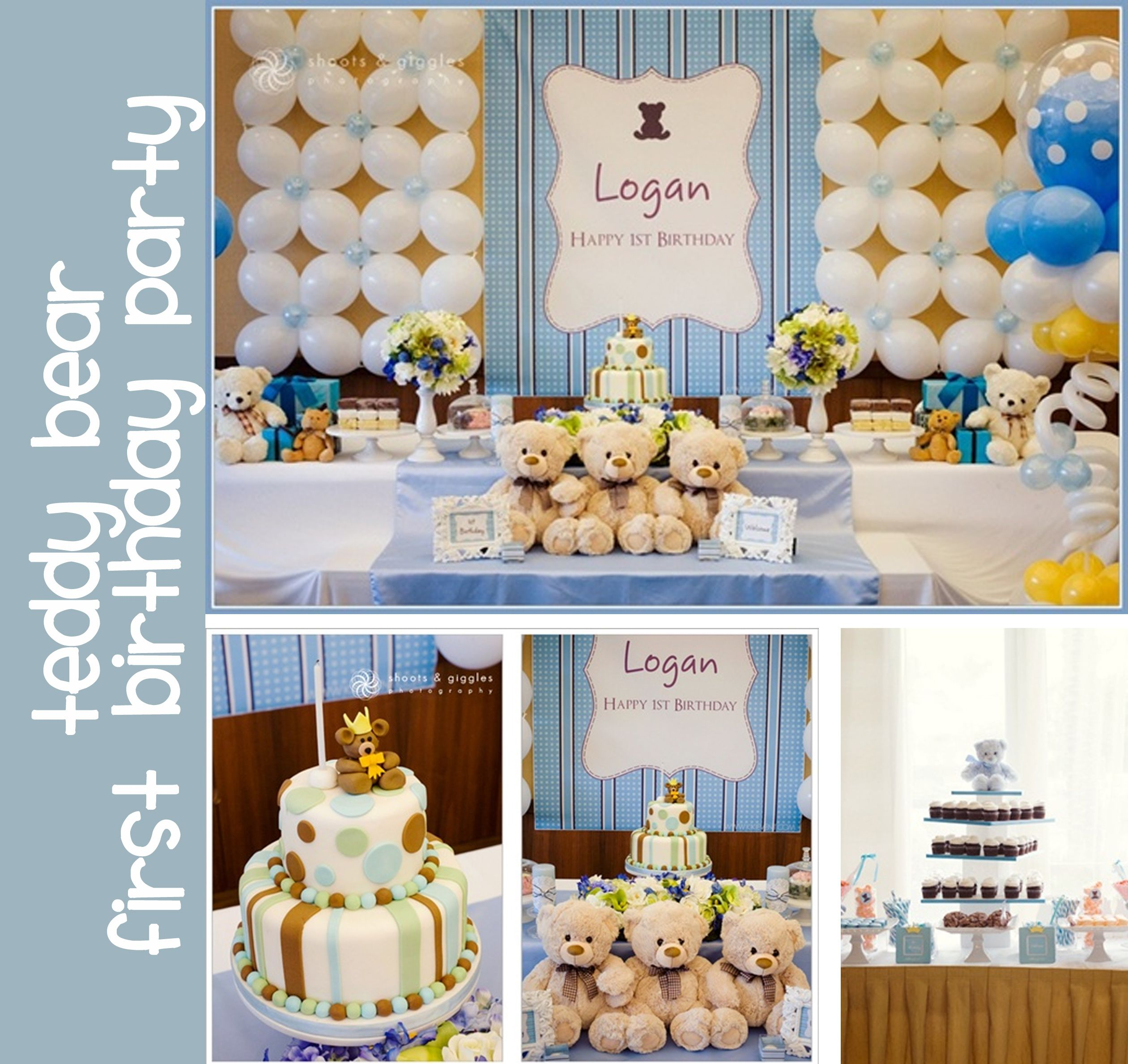 Beautiful Teddy Bear Baby Blue Boys First Birthday Party From The White Library