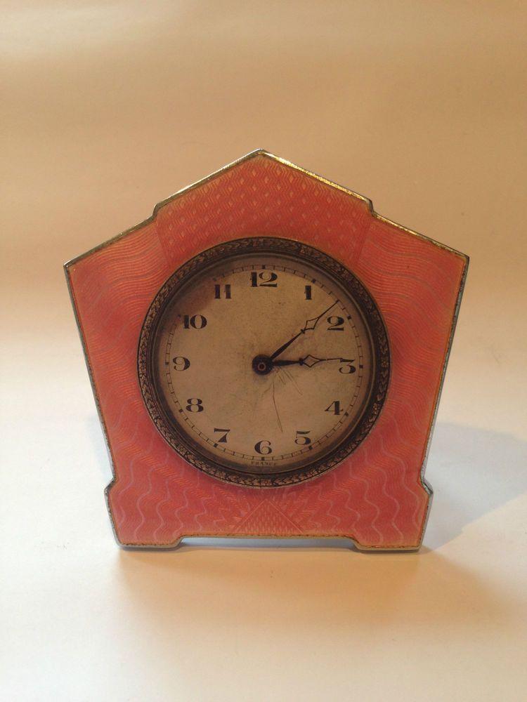 Art deco pink guilloche enamel french travelling clock gwo