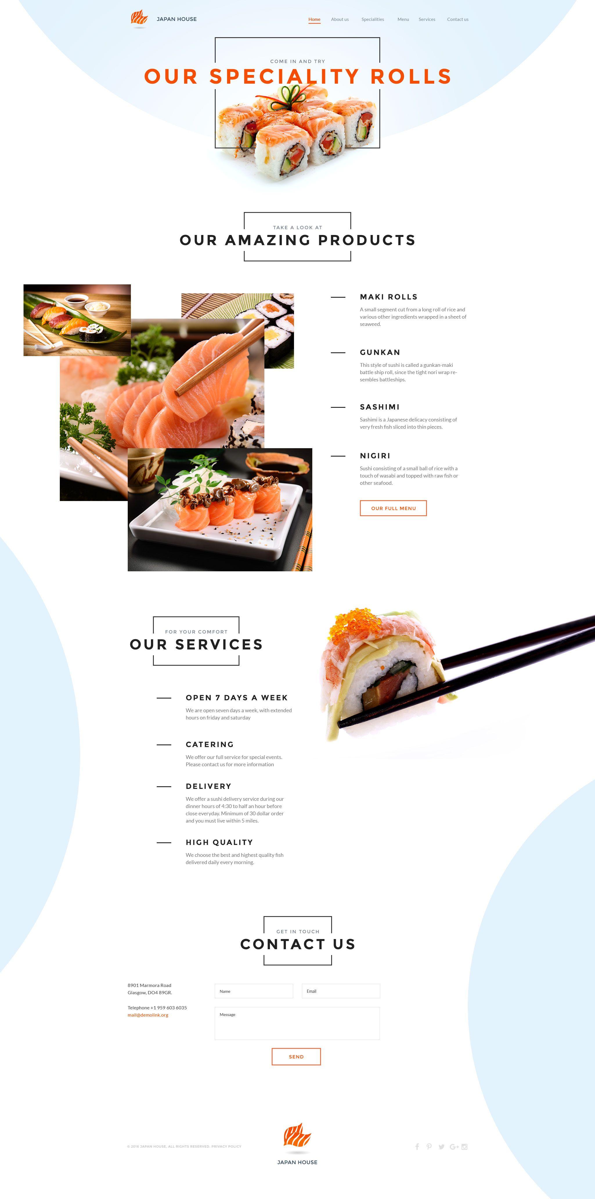 Sushi Bar Responsive Website Template Pinterest Template - Html restaurant menu template