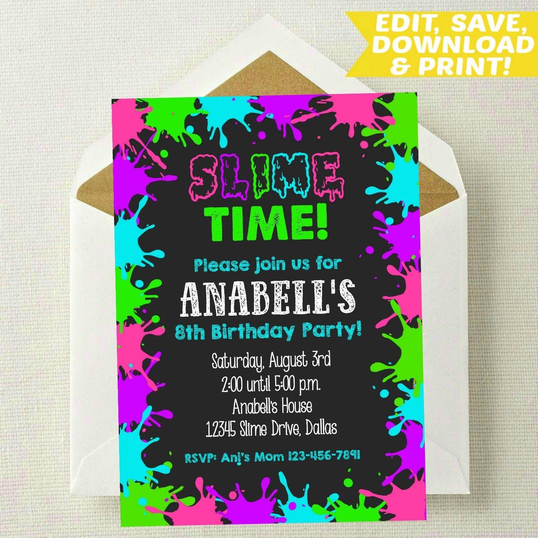 Editable slime invitation slime birthday invitation