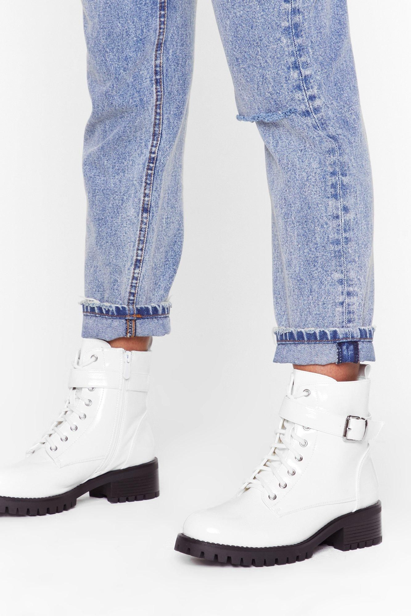 Buck faux leather boots white combat boots leather