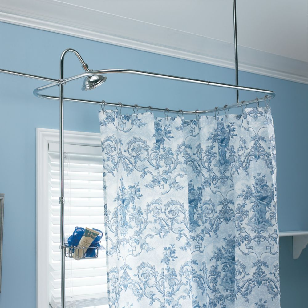 Shower Hoop Riser Kit Round Shower Curtain Rod Clawfoot Tub