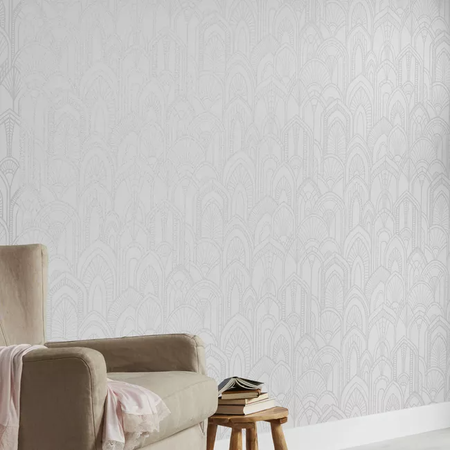 Tapeta Flizelinowa Goodhome Djinga Biala Tapety Dekoracyjne Castorama White Art Art Deco Textured Wallpaper