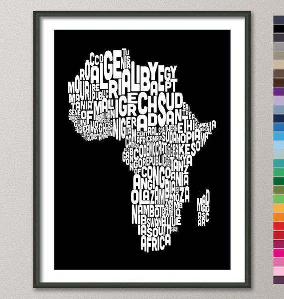 Typography map of africa map text art print color options 774 typography map of africa map text art print 18x24 inch by artpause 1499 gumiabroncs Image collections