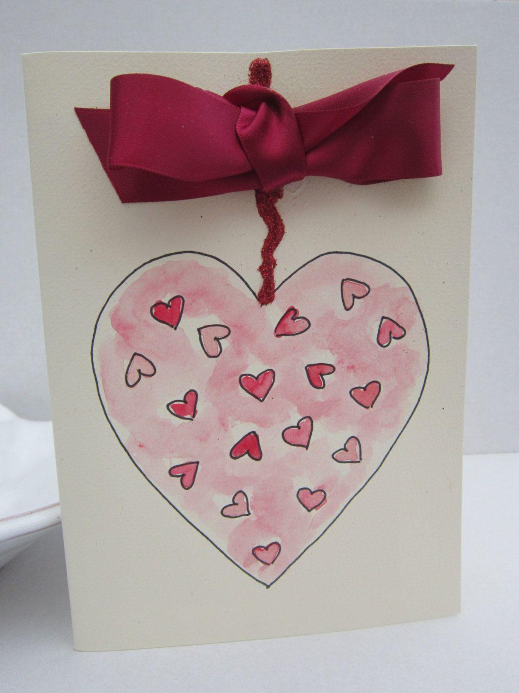 Valentine Heart Valentine Card Watercolour Card Handpainted Card
