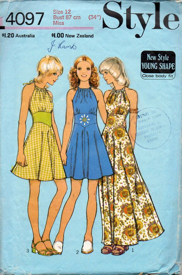 1970s Halter Neck Dress in Two Lengths Vintage Sewing Pattern - Style 4097 Bust 34. $7.50, via Etsy.