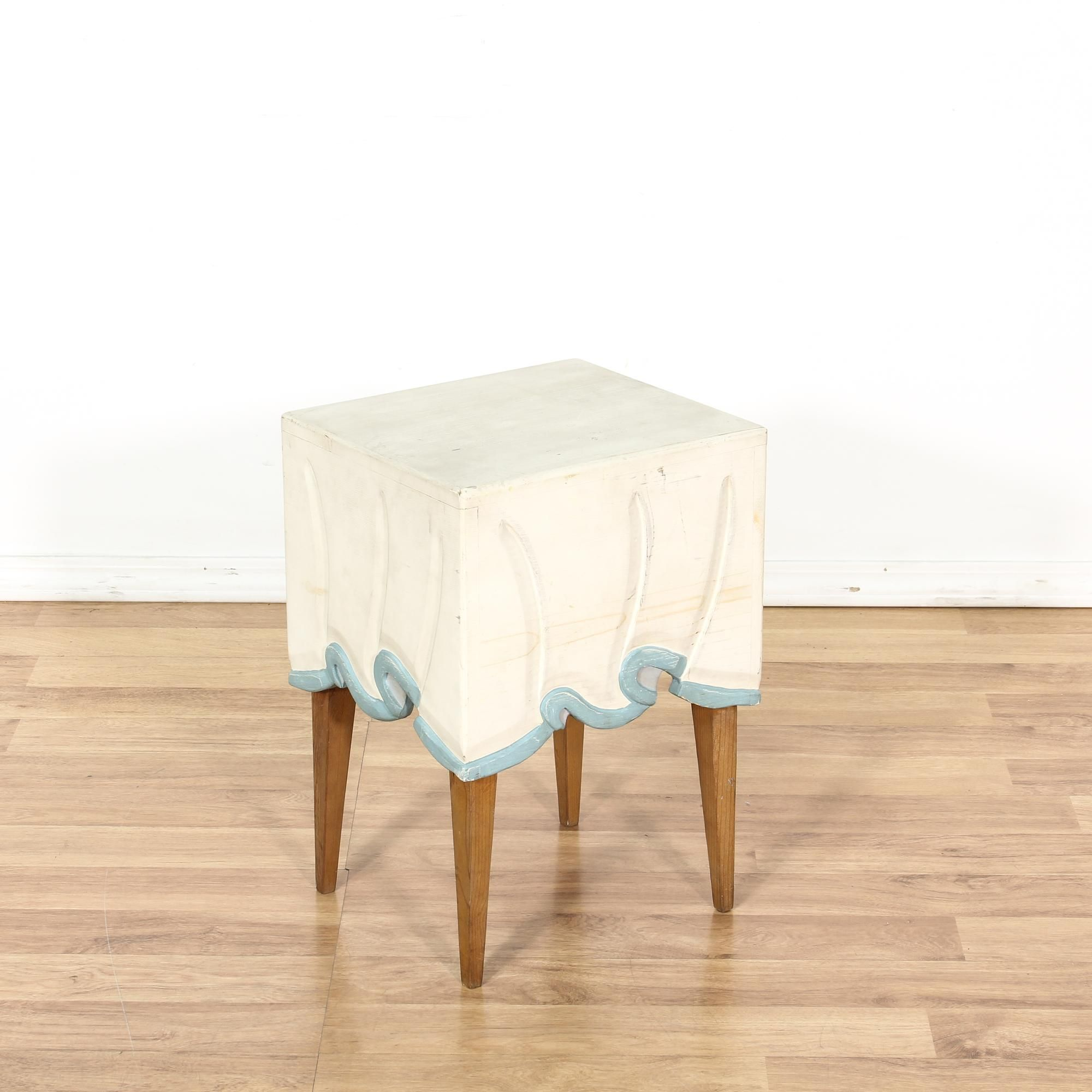 This end table is featured in a solid wood with a maple finish This