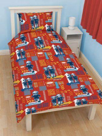 Fireman Sam Bedding Kids Single Duvet Cover Red
