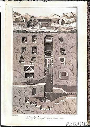 Louis-Jacques nach Goussier - Cross-section of a mine, from 'L'Encyclopedie' by Denis Diderot (1713-84) engraved by Benard, 1751-72