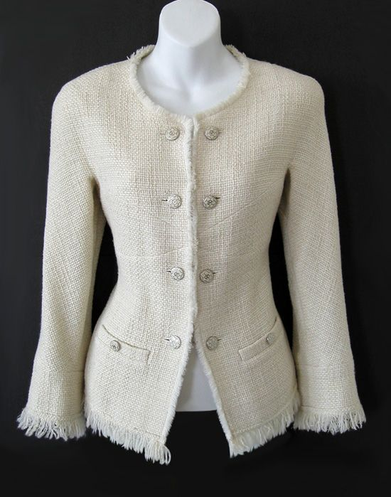 CHANEL Ivory Fringed French-Button Boucle Jacket