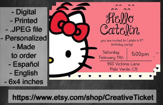 Hello kitty inspired birthday party invitation 6x4 in english hello kitty inspired birthday party invitation 6x4 in english espaol digital stopboris Image collections