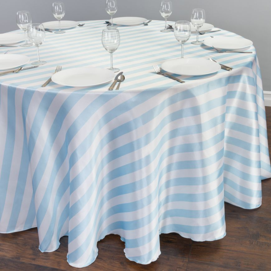120 In Round Baby Blue White Striped Satin Tablecloth Table Cloth Blue And White Baby Blue