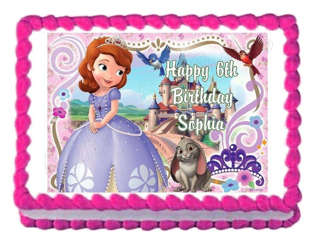Sofia the First Princess Edible Cake Image Cake Topper ...