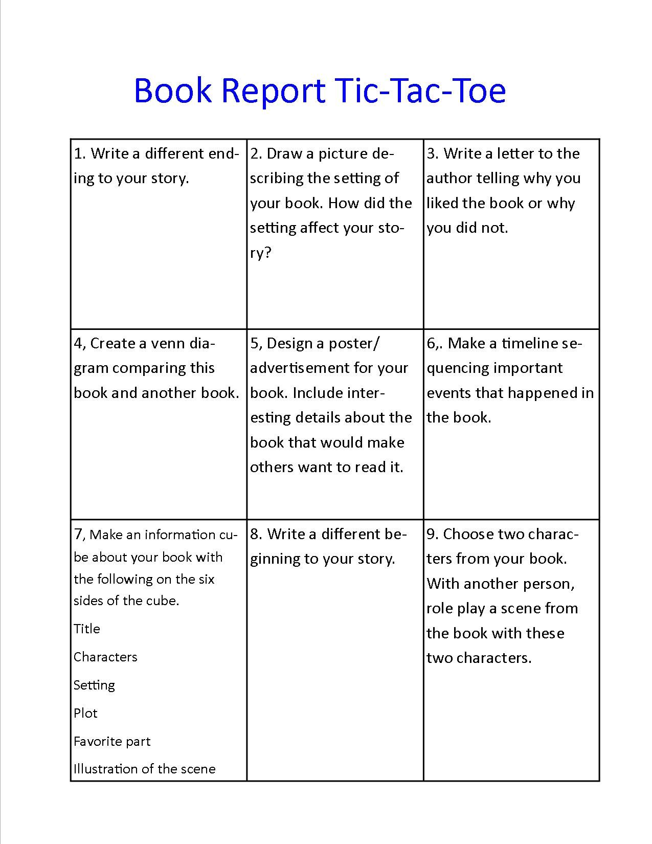 Book Report Tictactoe