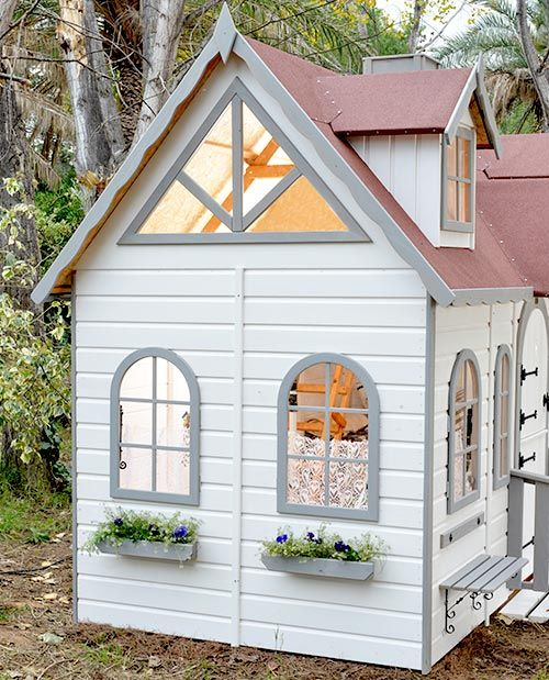 Lateral casita de madera para ni os para el jardin lugano for Casitas de jardin plastico