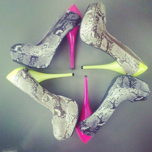 0f8768df6 Snakeskin + Neon = Seriously Sexy Pumps from Veda Soul ... Exclusively on  Heels.com #snake #neon #sexy #pump #exclusive