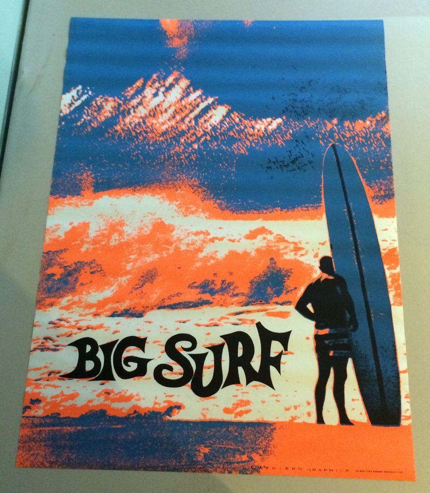 Big Surf Vintage Black light poster pin-up psychedelic surfer 1960's waves board