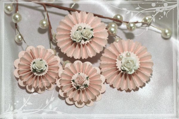 Paper Rosette Flowers Pale Pink Artful Embellishment Two