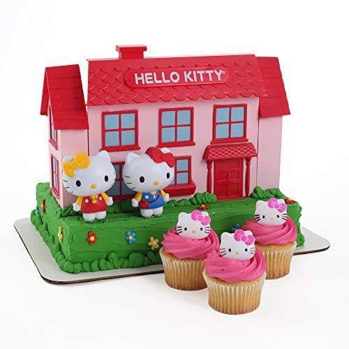 Hello Kitty Large Cake Topper and 24 Cupcake Topper Rings Bakery