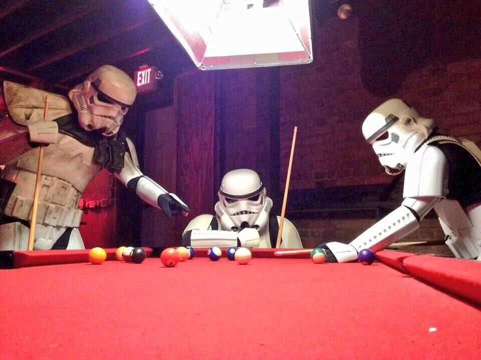 Stormtrooper Downtime Playing Pool Www Designerbilliards