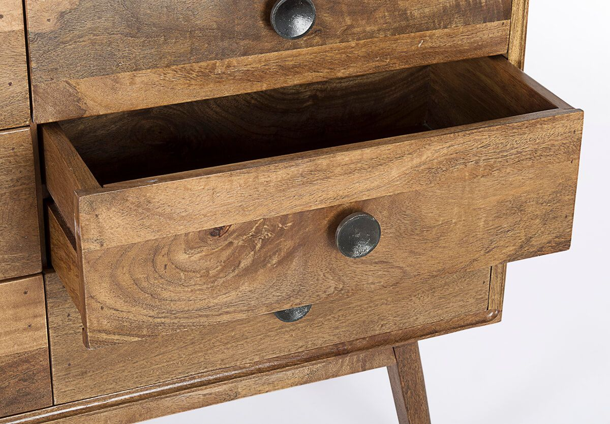 MUZZA chest of drawers sylvester with 6 natural drawers