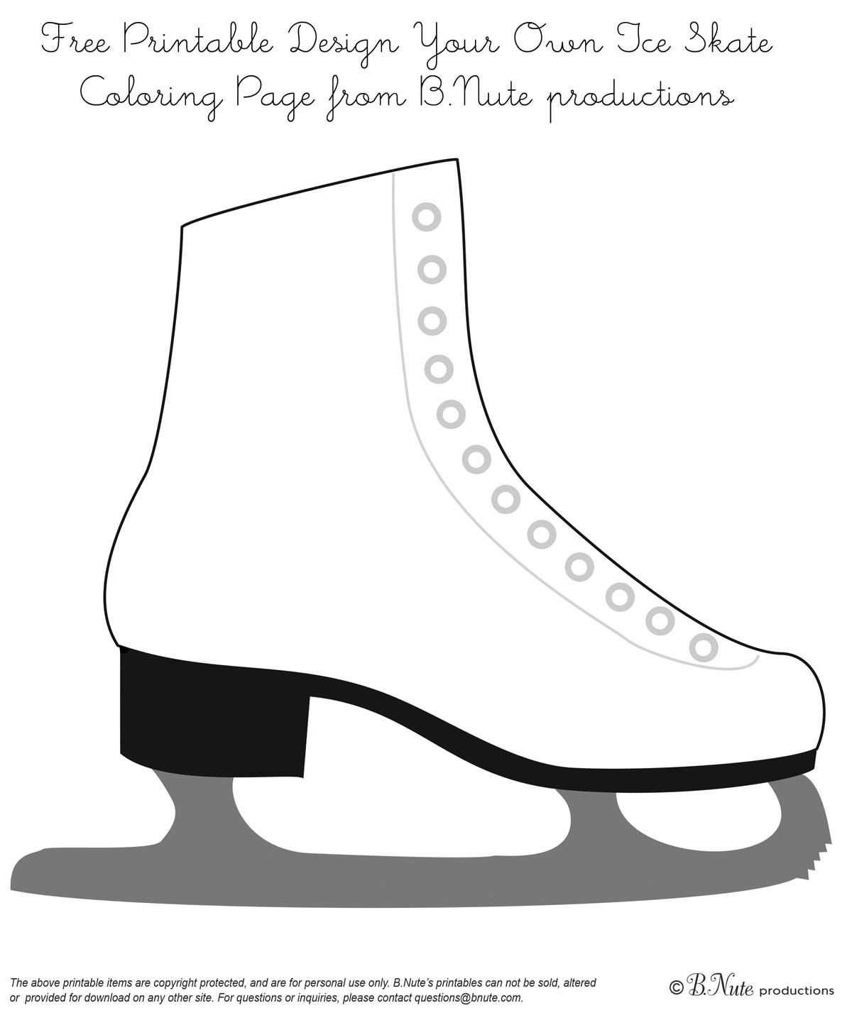 ice skate coloring pages bnute productions: Free Printable Coloring Page: Design Your Own  ice skate coloring pages