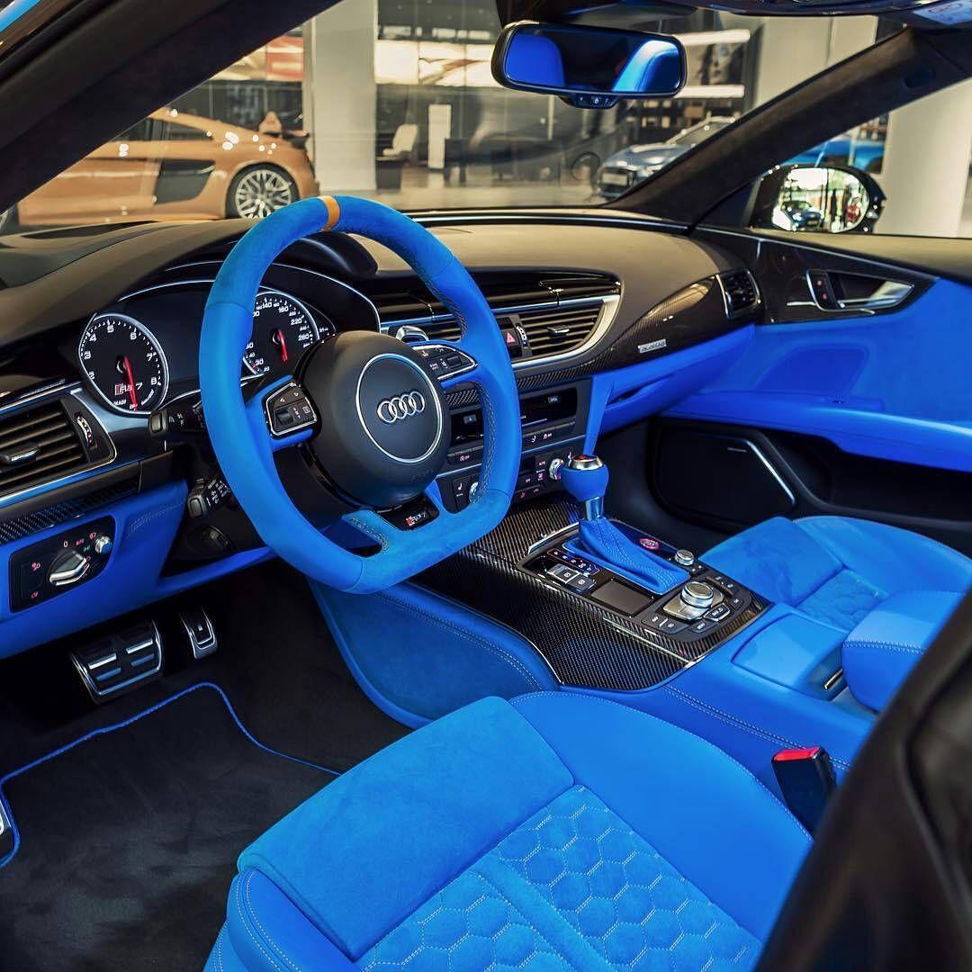 Audi Rs7 Blue And Black Interior Custom Diamond Stitch Door Panels Console Custom Car Interior Luxury Cars Audi Rs7 Interior