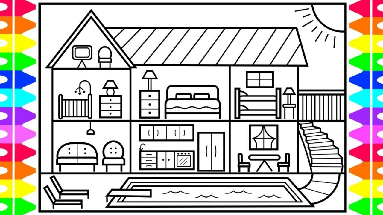 Summer Swimming Pool coloring page for kids, seasons