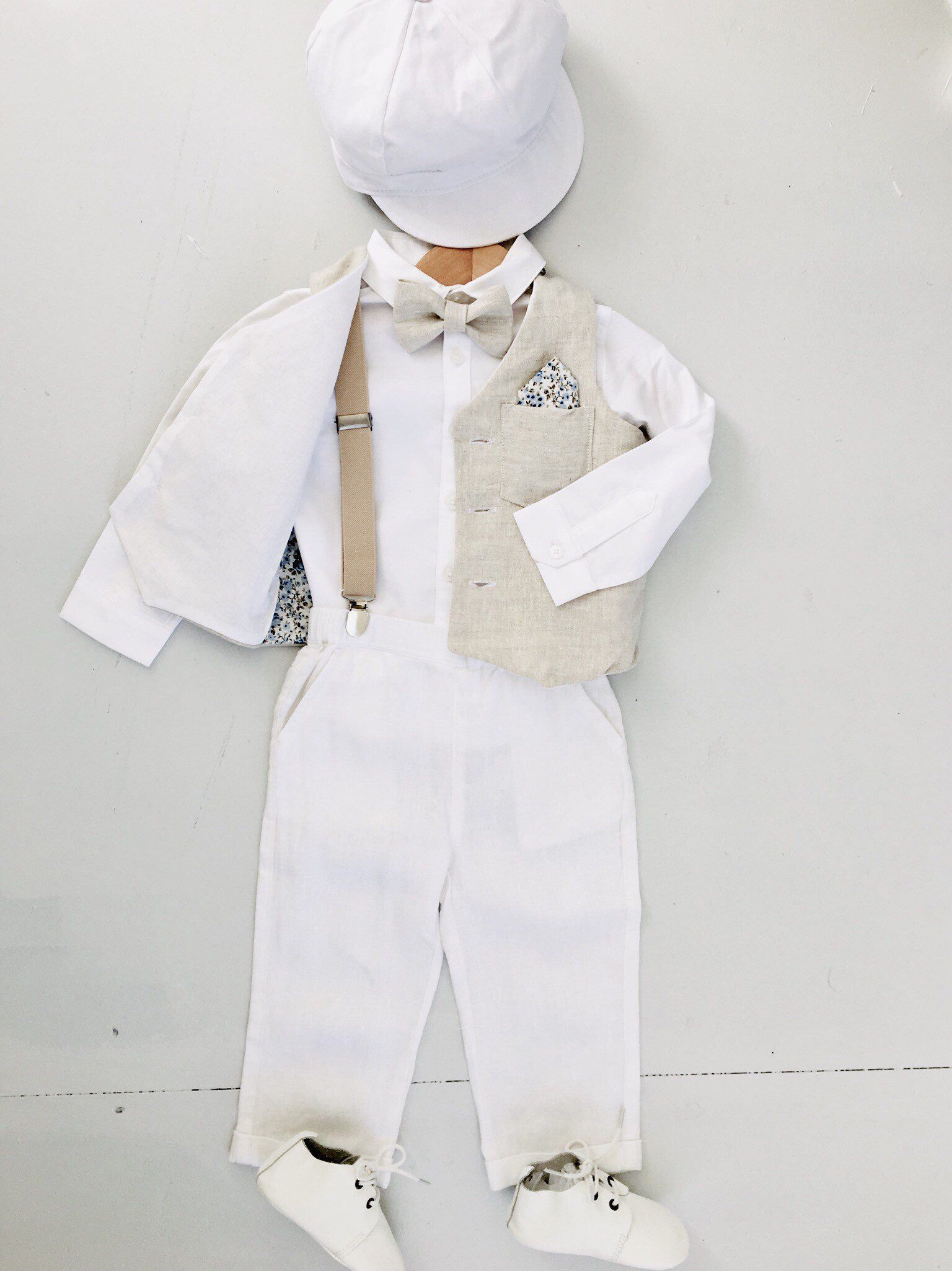 52bb3d6d3b Excited to share this item from my  etsy shop  100% linen boys Baptism  outfit with beige cream linen vest waistcoat and white linen pants or  shorts and blue ...