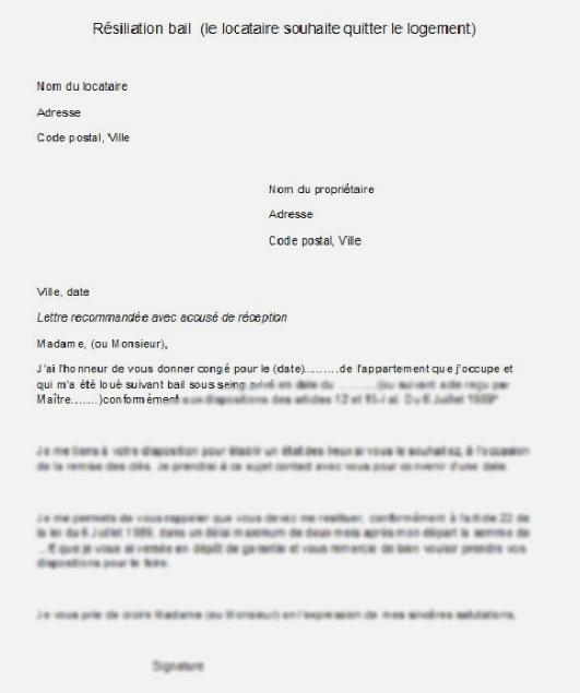 Lettre De Preavis Appartement Meuble Lettre De Resiliation Lettre De Recommandation Lettre De Demission