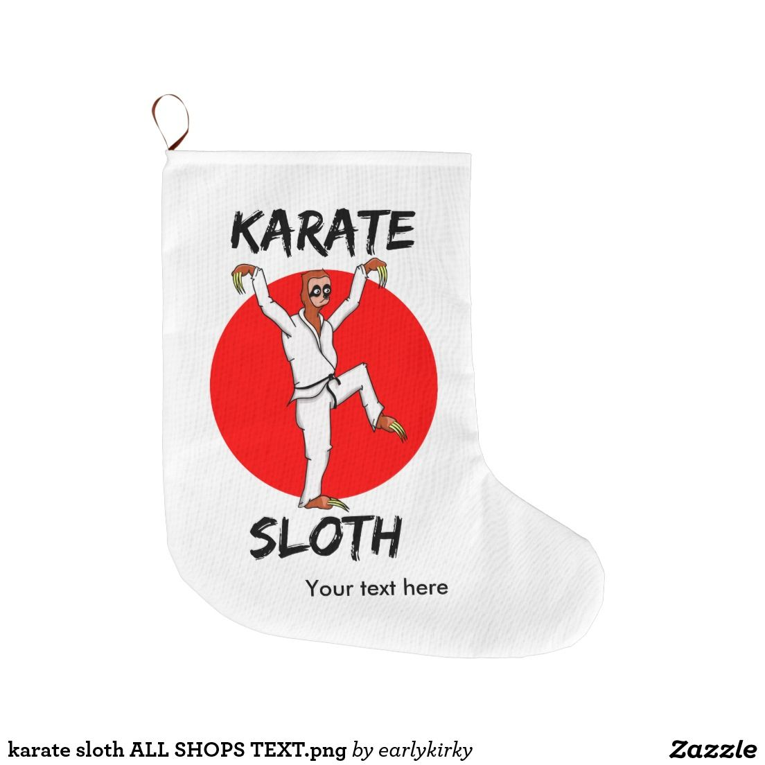 karate sloth ALL SHOPS TEXT.png Large Christmas Stocking