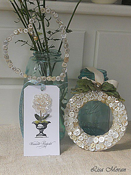 ball jars and decorations made with antique buttons