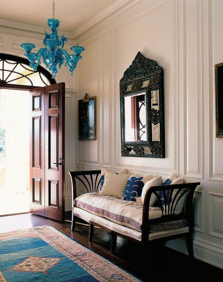 idée déco entrée maison avec lustre art déco, tapis kilim, banc en - idee deco entree maison