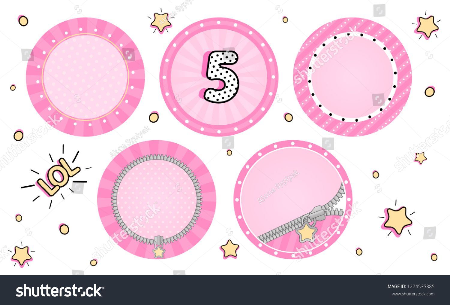 Set of cute vector LOL surprise cupcake toppers. Pink