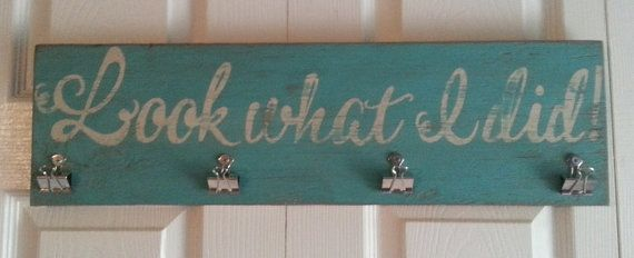 Distressed and vintage look Look what I did child art display sign/kids artwork display/turquoise and white on Etsy, $20.00
