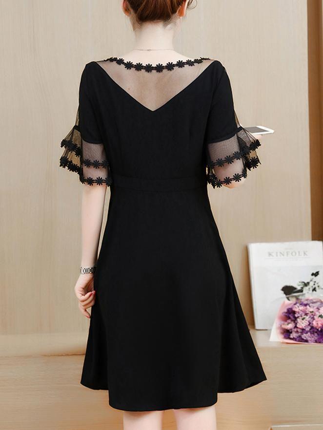 Black Frill Sleeve Plain Eyelet Lace Dress In 2019 Ideas