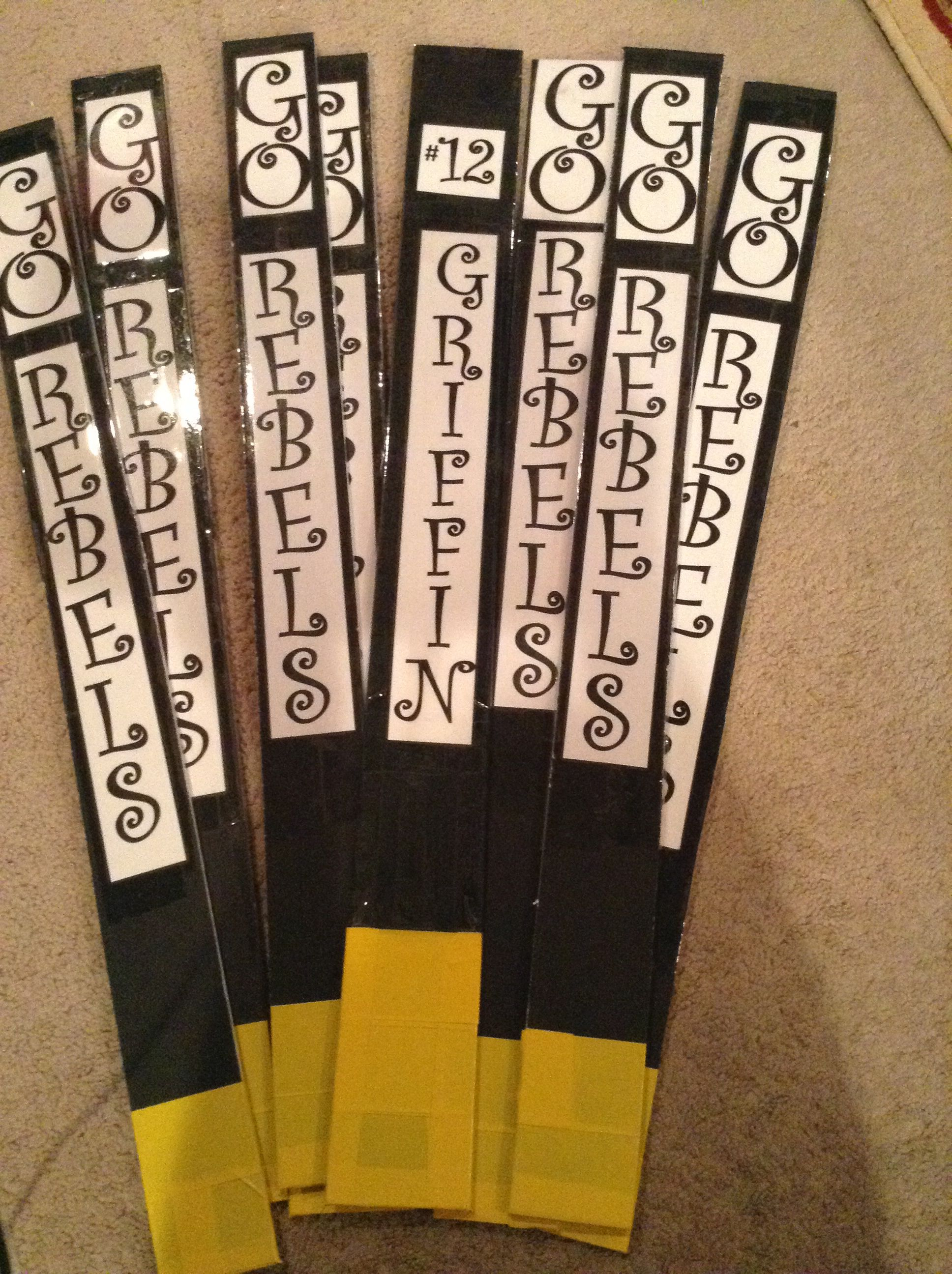 Volleyball Cheer Sticks Super Easy To Make With Foam Core Board And Packing Tape Cheer Posters Volleyball Cheers Packing Tape